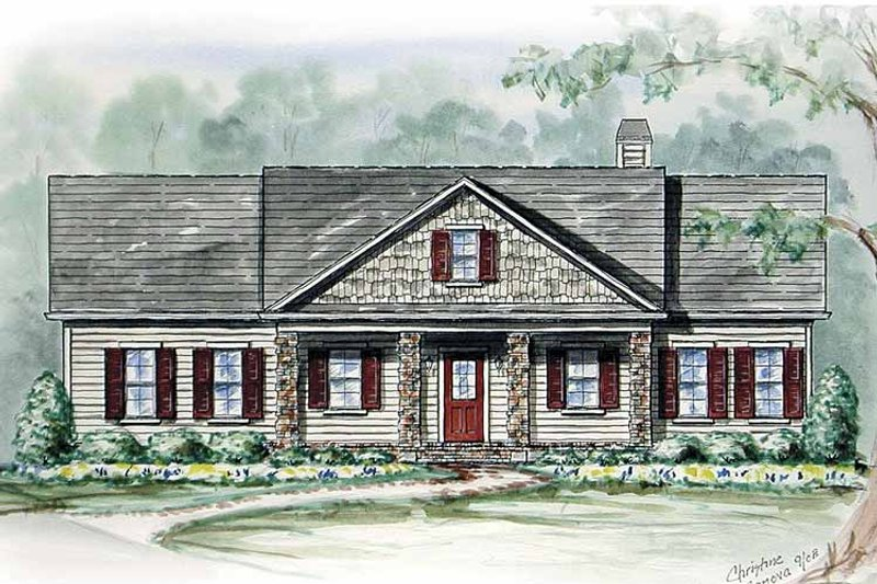 Country Exterior - Front Elevation Plan #54-265 - Houseplans.com
