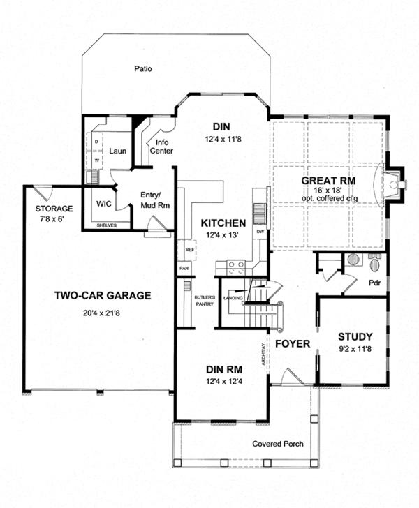 Home Plan - Colonial Floor Plan - Main Floor Plan #316-278