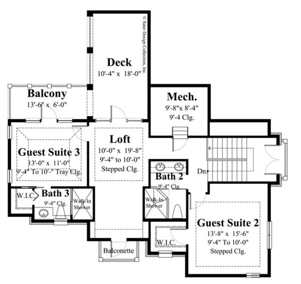 European Floor Plan - Upper Floor Plan #930-445