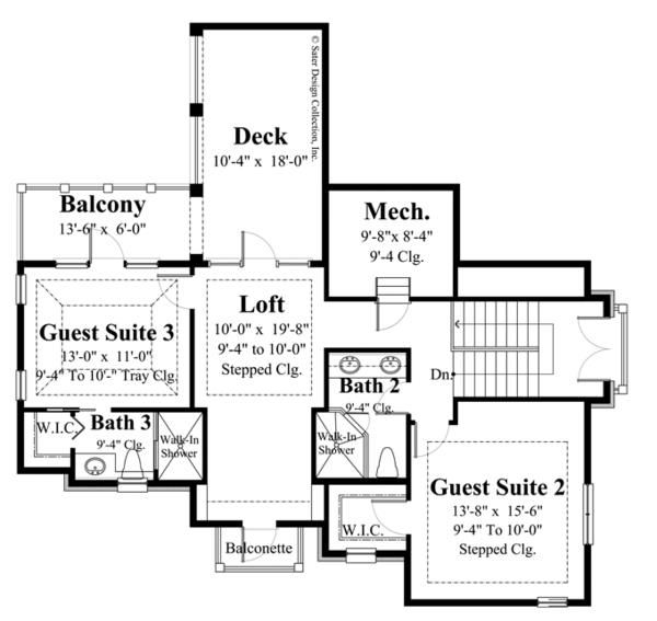 European Floor Plan - Upper Floor Plan Plan #930-445