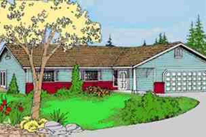 Ranch Exterior - Front Elevation Plan #60-608 - Houseplans.com