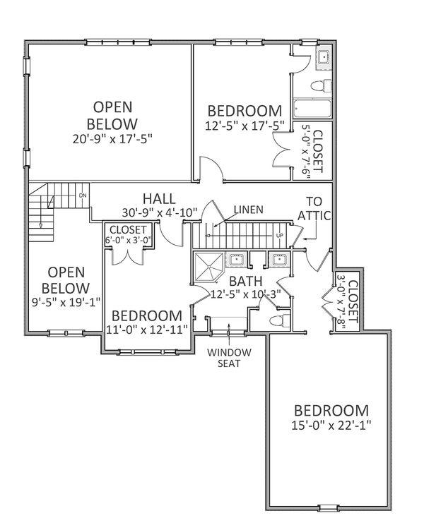Traditional Floor Plan - Upper Floor Plan Plan #898-30