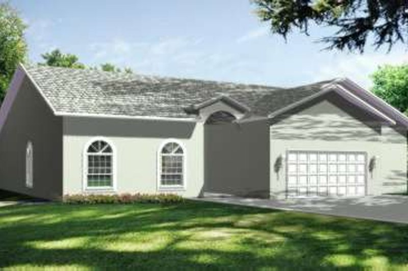 Mediterranean Style House Plan - 3 Beds 2.5 Baths 2763 Sq/Ft Plan #1-675 Exterior - Front Elevation