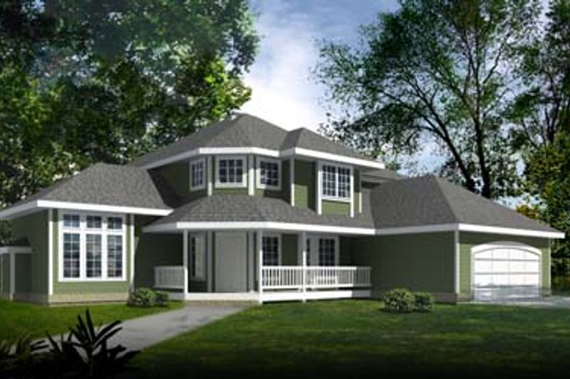 Country Style House Plan - 4 Beds 3 Baths 2534 Sq/Ft Plan #97-207 Exterior - Front Elevation