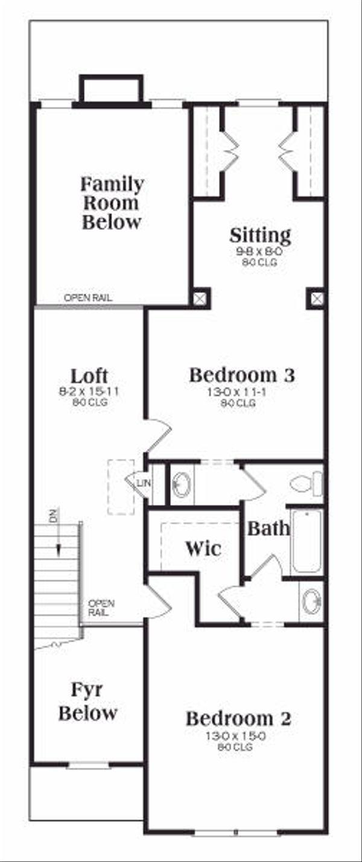 Craftsman Floor Plan - Upper Floor Plan Plan #419-161