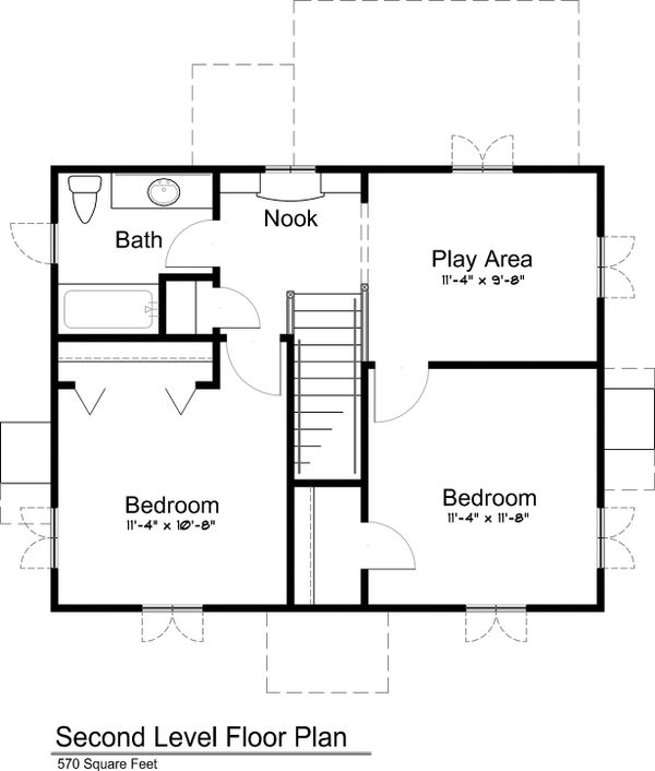 Upper Level floor plan - 1300 square foot cottage home