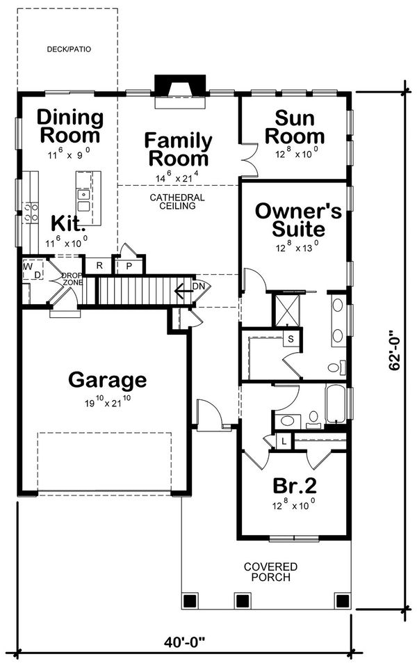 Cottage Floor Plan - Main Floor Plan Plan #20-2391