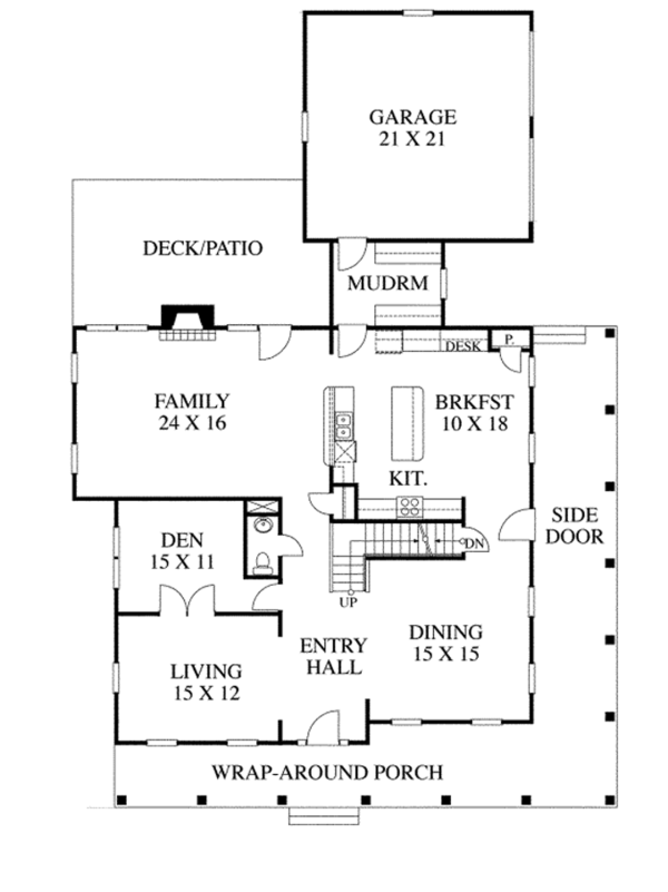 Traditional Floor Plan - Main Floor Plan Plan #1053-52