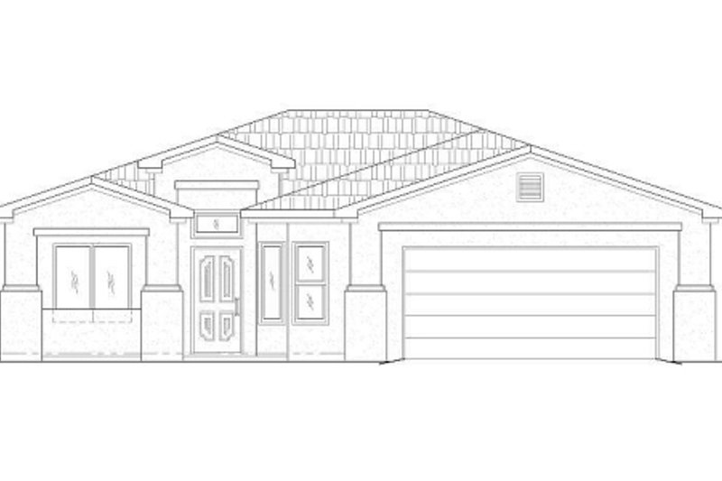 Adobe / Southwestern Style House Plan - 3 Beds 2 Baths 1609 Sq/Ft Plan #24-163 Exterior - Front Elevation