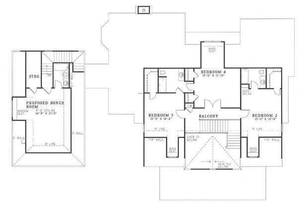 Traditional Floor Plan - Upper Floor Plan Plan #17-225