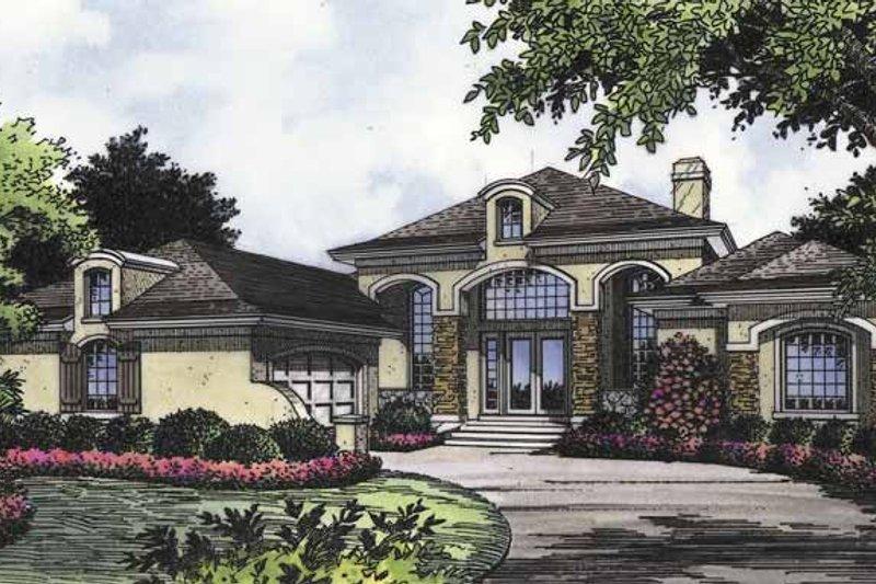 Dream House Plan - Mediterranean Exterior - Front Elevation Plan #417-660