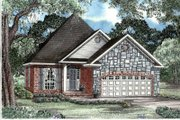 European Style House Plan - 3 Beds 2 Baths 1487 Sq/Ft Plan #17-183 Exterior - Front Elevation