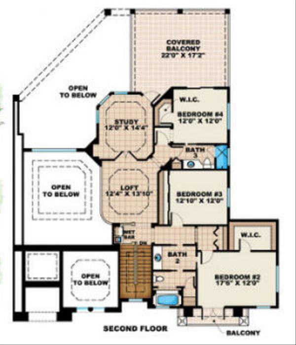 Mediterranean Floor Plan - Upper Floor Plan Plan #27-381