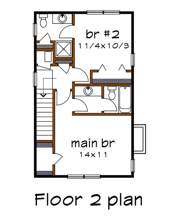 Architectural House Design - Colonial Floor Plan - Upper Floor Plan #79-133