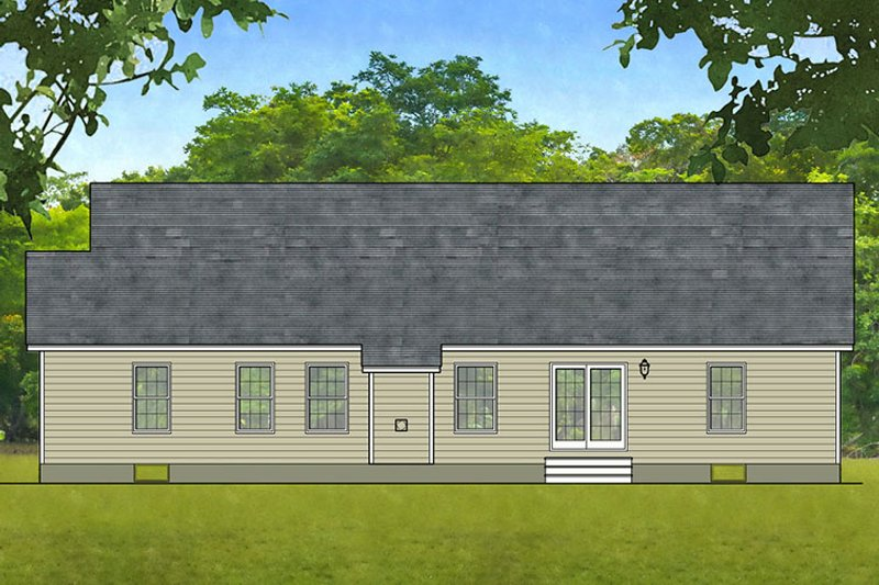 Ranch Exterior - Rear Elevation Plan #1010-4 - Houseplans.com