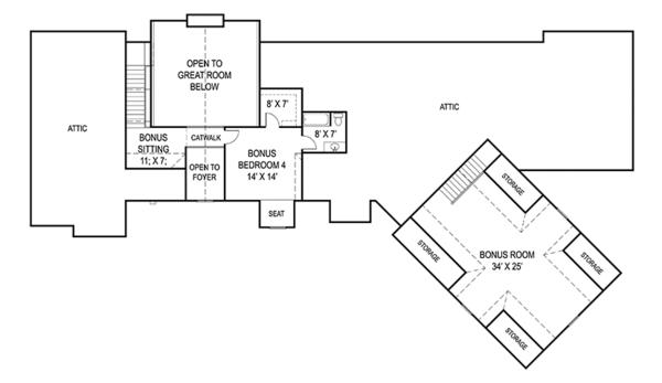 Craftsman Floor Plan - Upper Floor Plan Plan #119-424