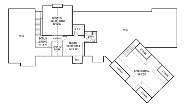 Craftsman Floor Plan - Upper Floor Plan Plan #119-424