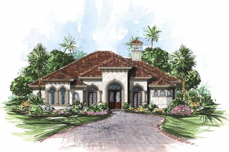 Mediterranean Exterior - Front Elevation Plan #1017-22