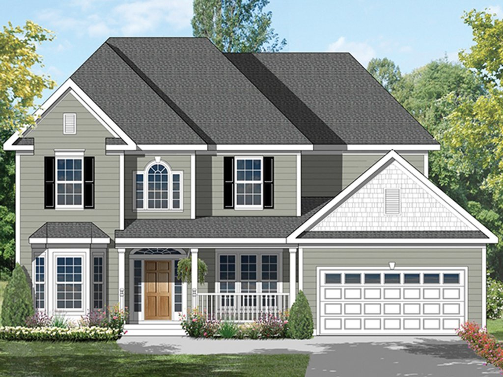 Colonial Exterior Front Elevation Plan 1053 64