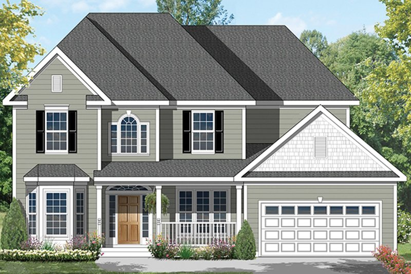 Architectural House Design - Colonial Exterior - Front Elevation Plan #1053-64
