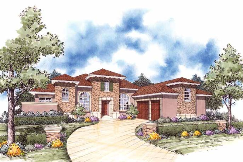 Mediterranean Exterior - Front Elevation Plan #930-55