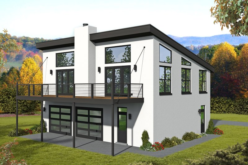 Contemporary Style House Plan - 1 Beds 1.5 Baths 1265 Sq/Ft Plan #932-297 Exterior - Front Elevation