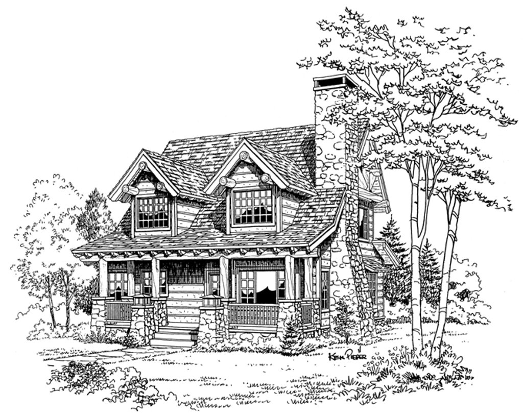 cabin style house plan - 2 beds 2 baths 1362 sq  ft plan  942-25