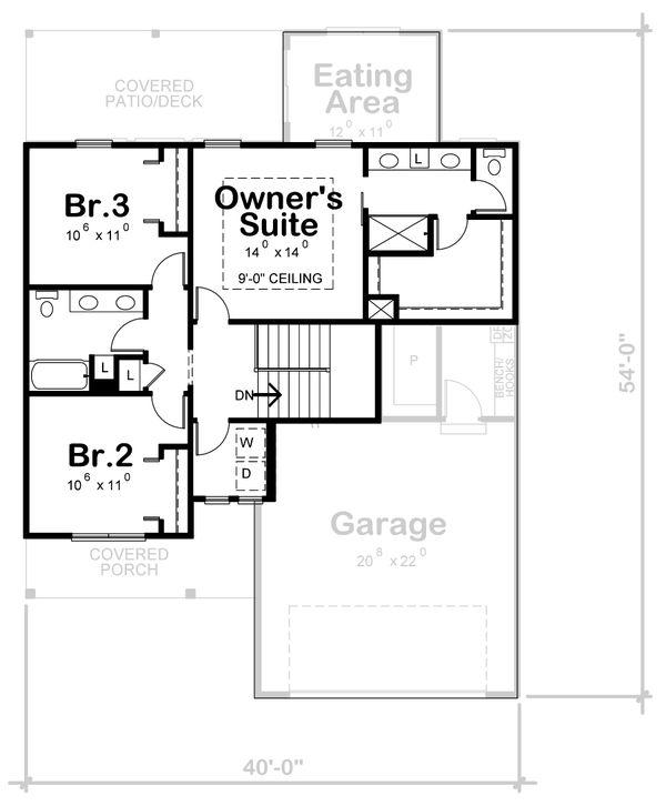 Traditional Floor Plan - Upper Floor Plan Plan #20-2397