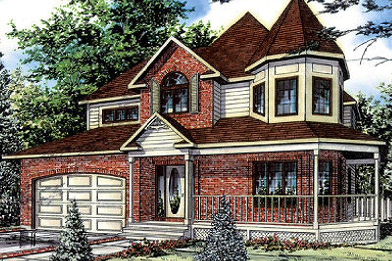 Victorian Style House Plan - 3 Beds 2.5 Baths 2134 Sq/Ft Plan #138-196 Exterior - Front Elevation