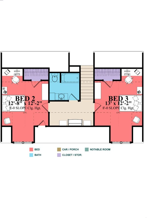 Classical Floor Plan - Upper Floor Plan Plan #63-401