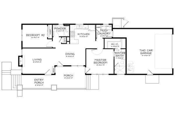 Craftsman Style House Plan - 2 Beds 2 Baths 1098 Sq/Ft Plan #895-13 Floor Plan - Main Floor Plan