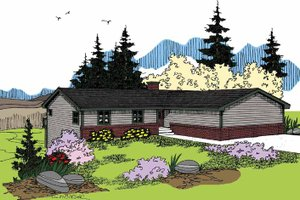 Ranch Exterior - Front Elevation Plan #60-1017