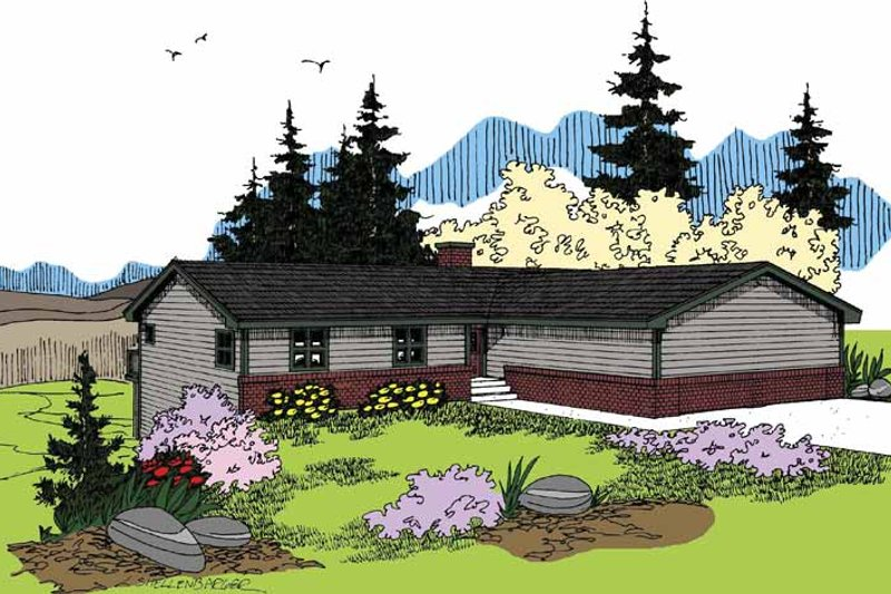 Ranch Exterior - Front Elevation Plan #60-1017 - Houseplans.com