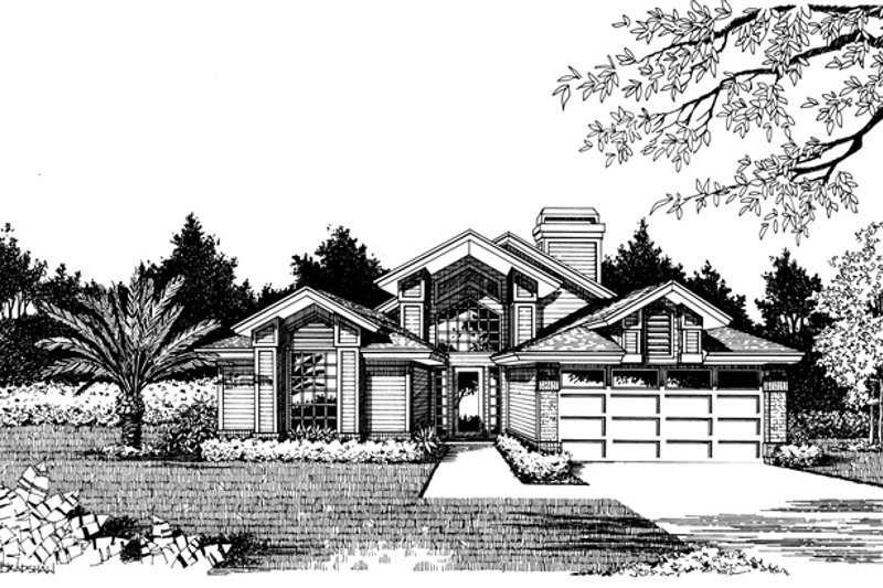 Dream House Plan - Prairie Exterior - Front Elevation Plan #417-463