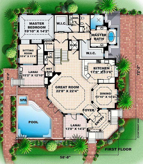 Beach Floor Plan - Main Floor Plan Plan #27-567