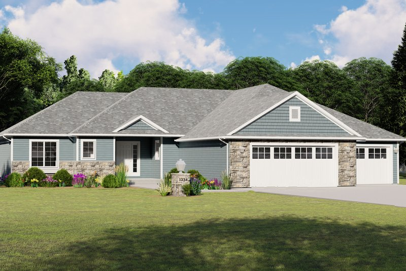 Craftsman Style House Plan - 3 Beds 2 Baths 1701 Sq/Ft Plan #1064-79 Exterior - Front Elevation