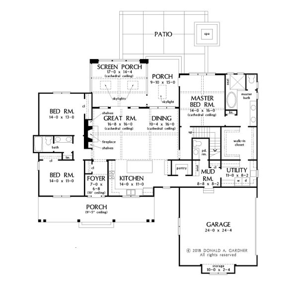 Farmhouse Floor Plan - Main Floor Plan Plan #929-1053