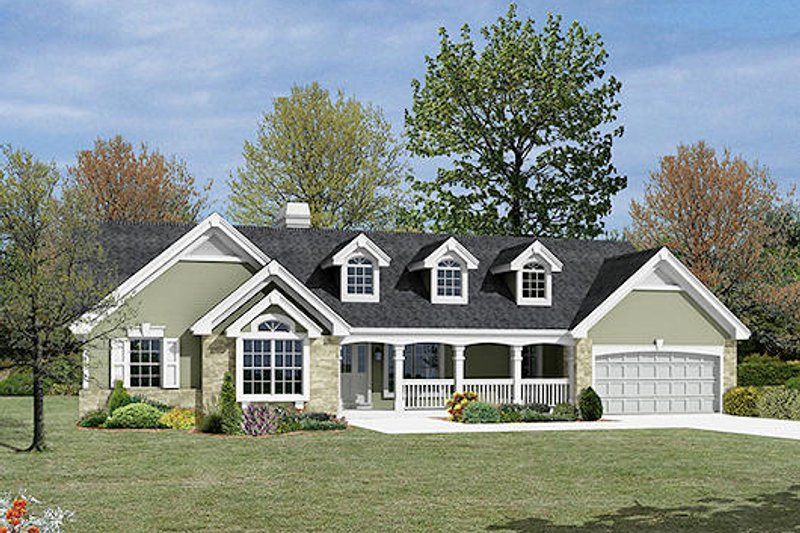 Ranch Exterior - Front Elevation Plan #57-341 - Houseplans.com