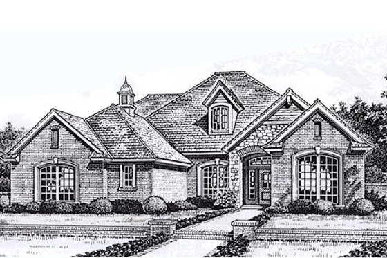 European Exterior - Front Elevation Plan #310-860