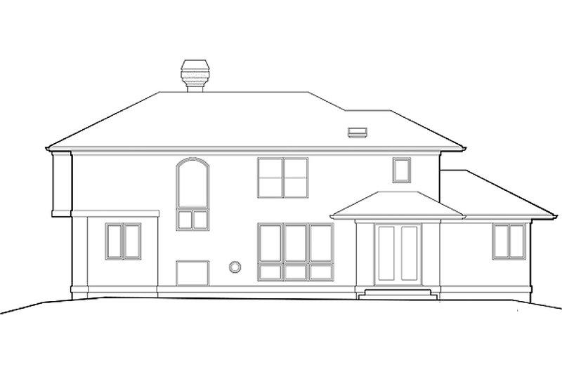 Mediterranean style home, rear elevation
