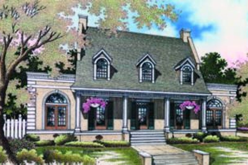 Southern Exterior - Front Elevation Plan #45-198