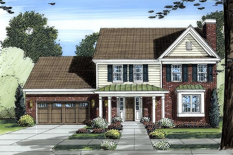 Traditional Exterior - Front Elevation Plan #46-454