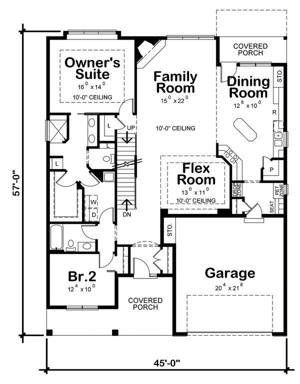 Craftsman Floor Plan - Main Floor Plan #20-2316