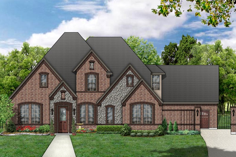 European Style House Plan - 4 Beds 3 Baths 2939 Sq/Ft Plan #84-463 Exterior - Front Elevation
