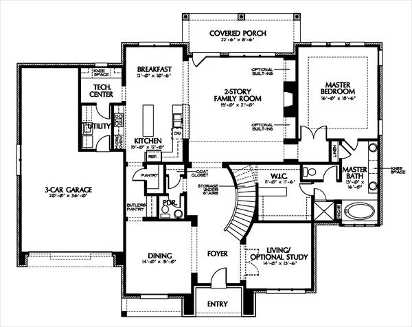 European Floor Plan - Main Floor Plan Plan #449-4