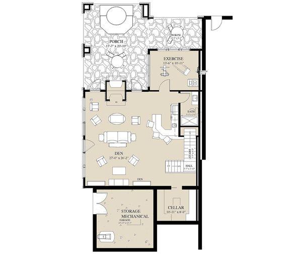 Craftsman Floor Plan - Lower Floor Plan #921-3