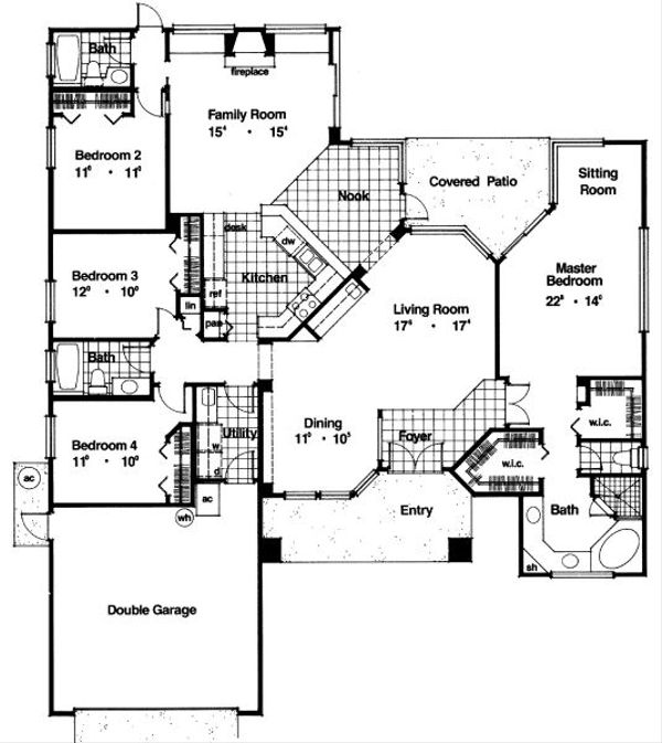 Mediterranean Floor Plan - Main Floor Plan Plan #417-222