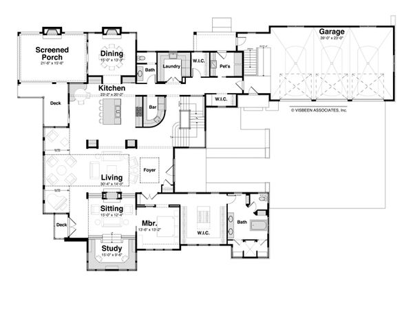 Contemporary Style House Plan - 4 Beds 4.5 Baths 6717 Sq/Ft Plan #928-261 Floor Plan - Main Floor Plan