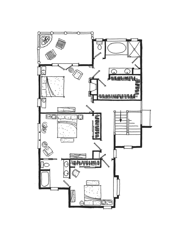 Cabin Floor Plan - Upper Floor Plan Plan #942-36