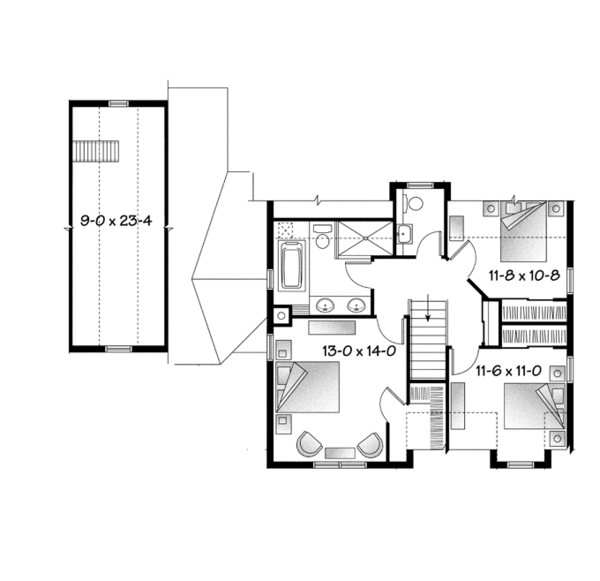 Country Floor Plan - Upper Floor Plan Plan #23-2561